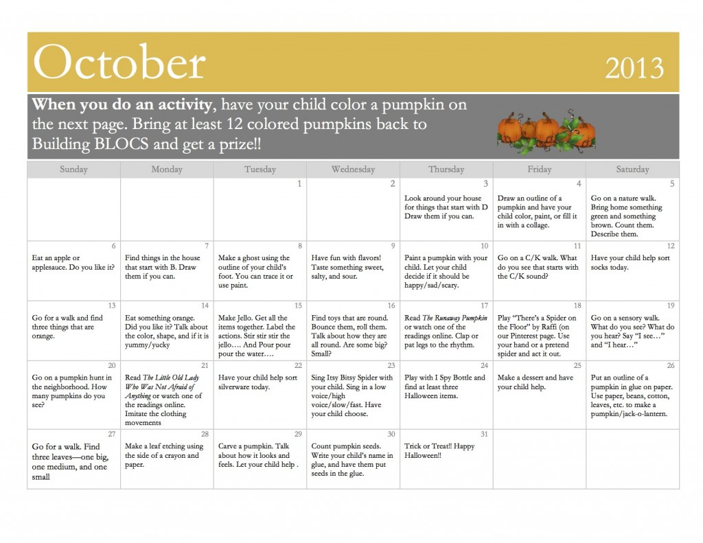 October Parent Activities (1)